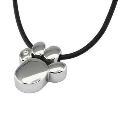 Magnet Kettenanhänger Pfote silber mit Swarovski Element + Kette