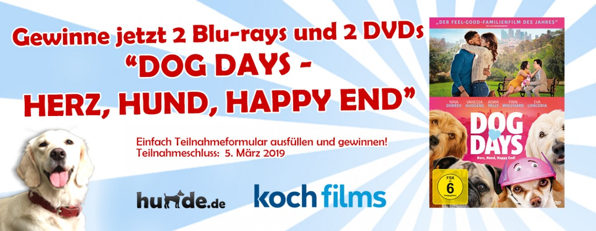 Gewinnspiel: DOG DAYS – HERZ, HUND, HAPPY END!