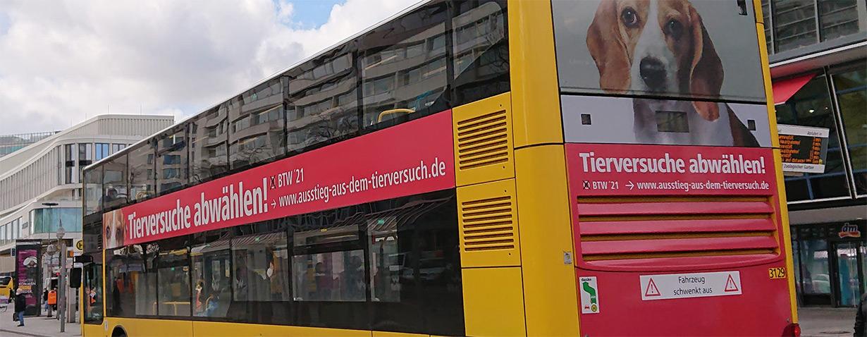 Tierversuche: Berliner Bus wirbt für Ausstiegsplan
